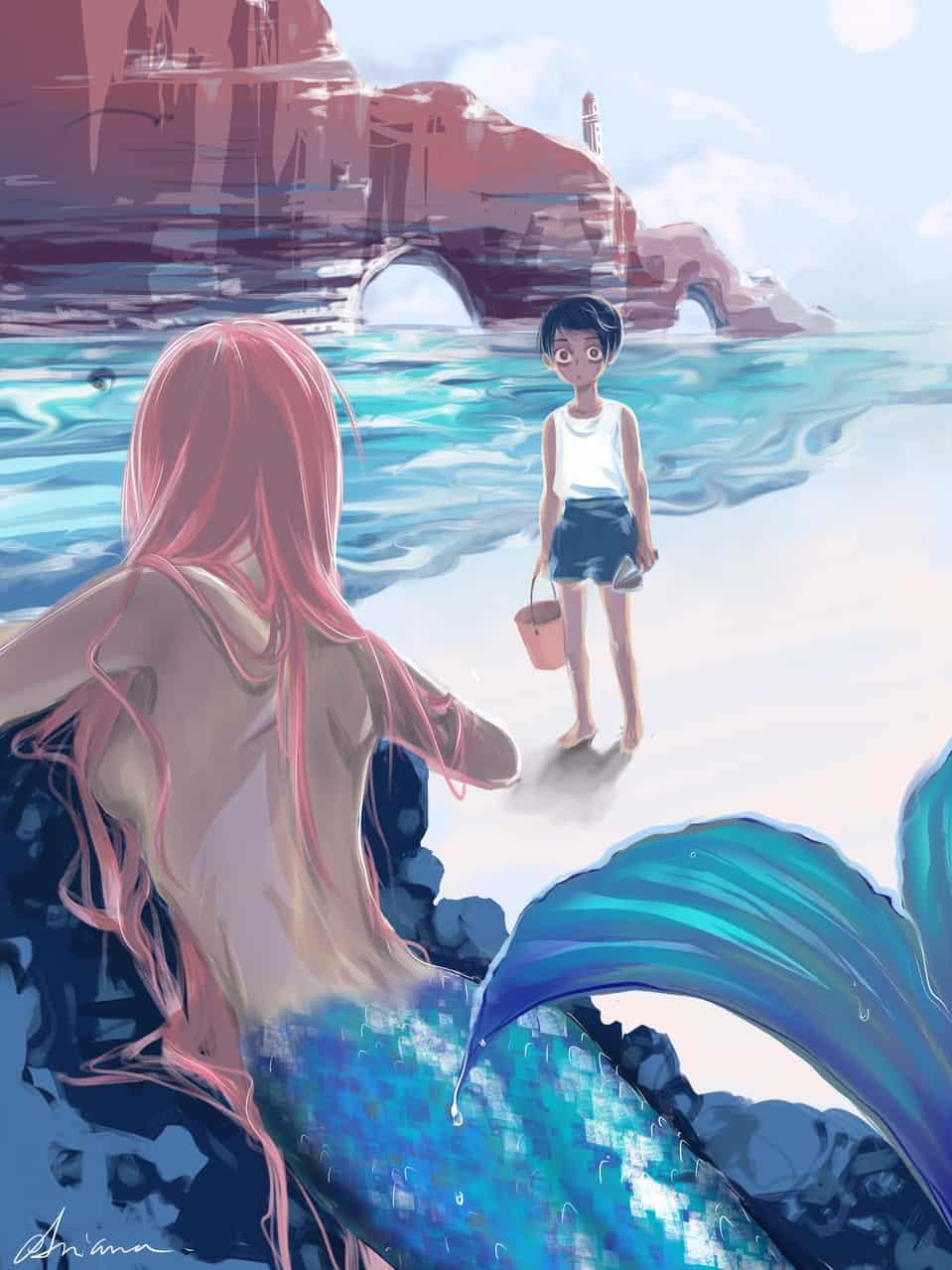 Seaside Mermaid Illust of Aria April.2020Contest:Color sea original scenery mermaid