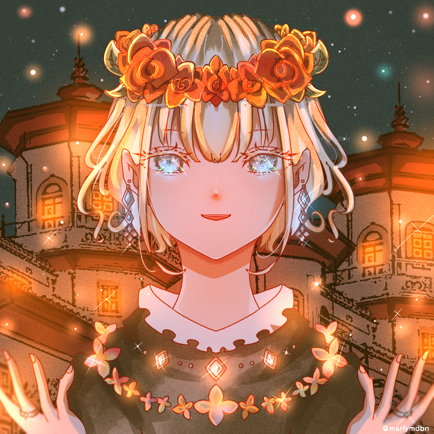 Honor Illust of Marfy 宝石 メルヘン flower portrait blonde girl きらきら kawaii night