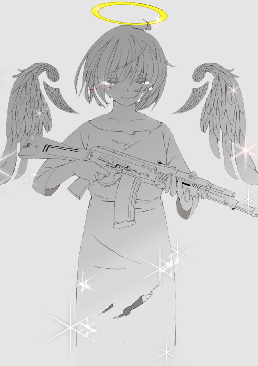 武器を手にとった天使は今日も泣く Illust of はろちゃ medibangpaint girl 羽 ライフル tears 武器 gradation 泣く blackandwhite