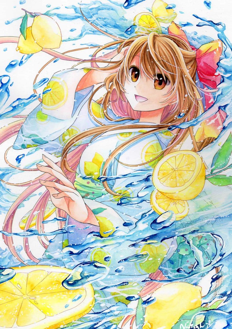 爽 Illust of 能勢ナツキ September2021_Girl yellow girl water Japanese_style oc original アナログ kimono kawaii watercolor