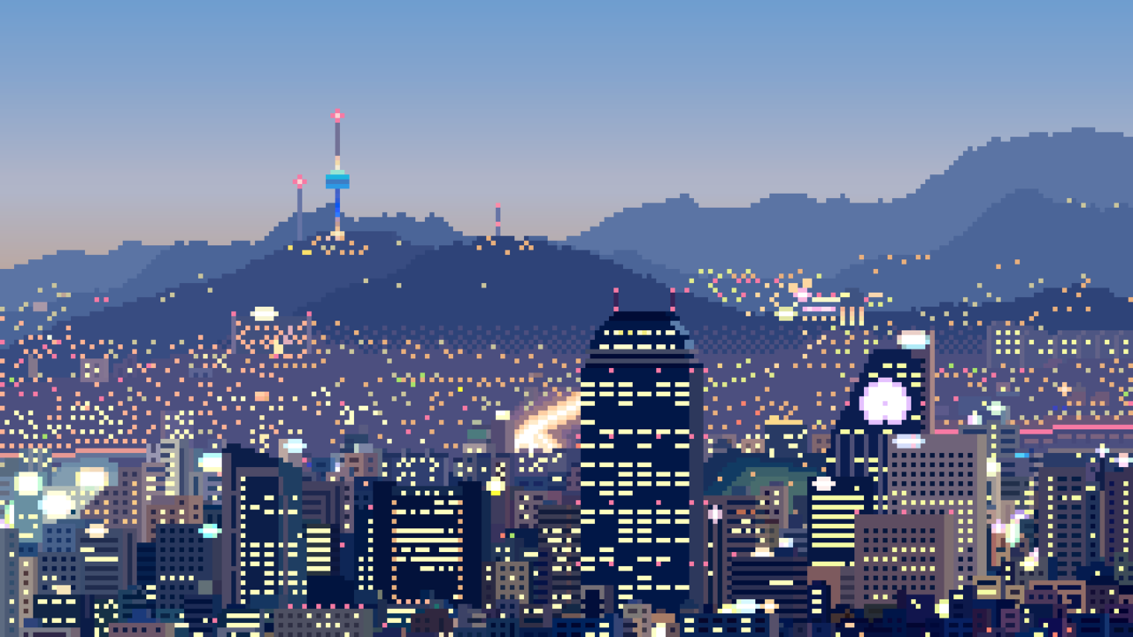 풍경 / 픽셀 서울 Illust of 그림하느 brag.your.country view medibang skyline Seoul pixelart 야경