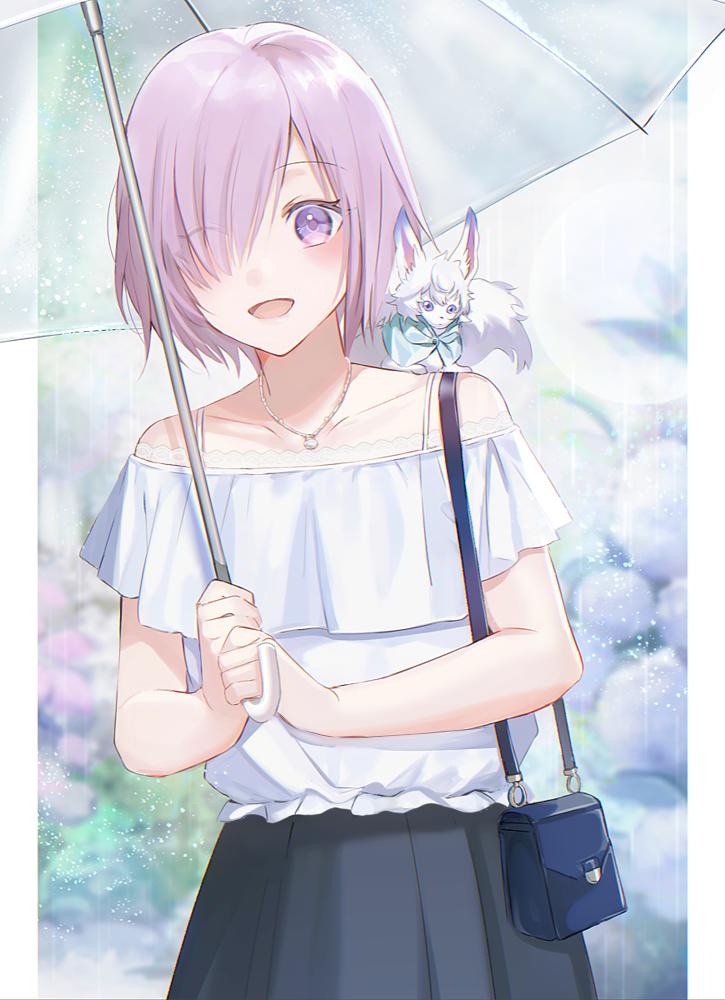 雨の日の後輩 Illust of onk Fate/GrandOrder medibangpaint umbrella hydrangea rain フォウ MashKyrielight