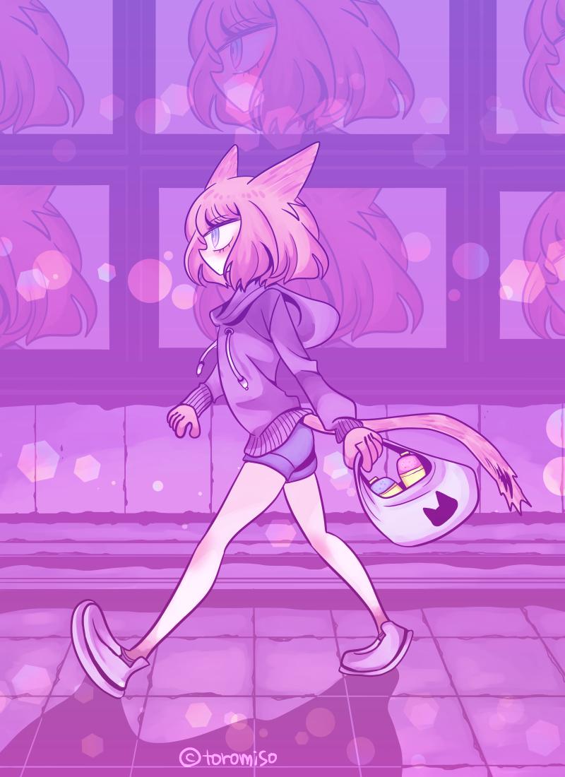 43 Illust of toromiso sci-fi June2020_Contest:Street_Art 獣耳 cat オリジナル漫画キャラクター original cat_ears 猫耳娘 oc