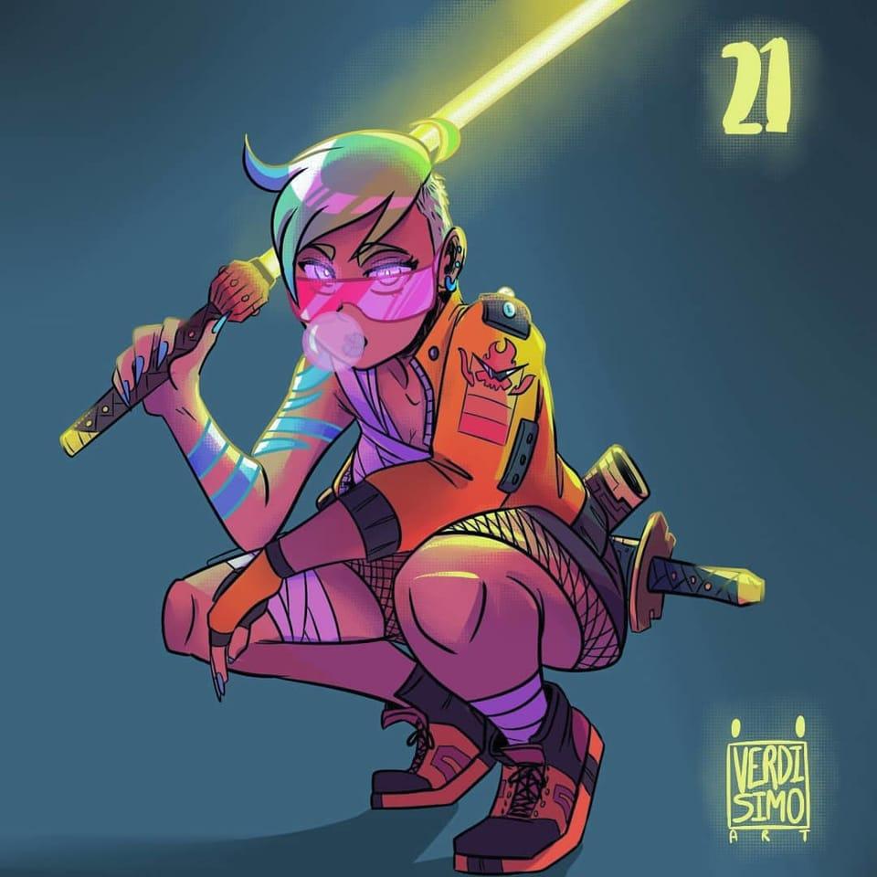 Cyberpunk Neon Swordman girl 21 Illust of verdisimo_art November2020_Contest:Cyberpunk cyberpunk contest neon samurai