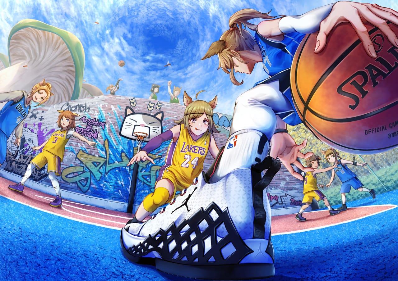 3x3 Illust of パイナポー けもみみ girl バスケ background