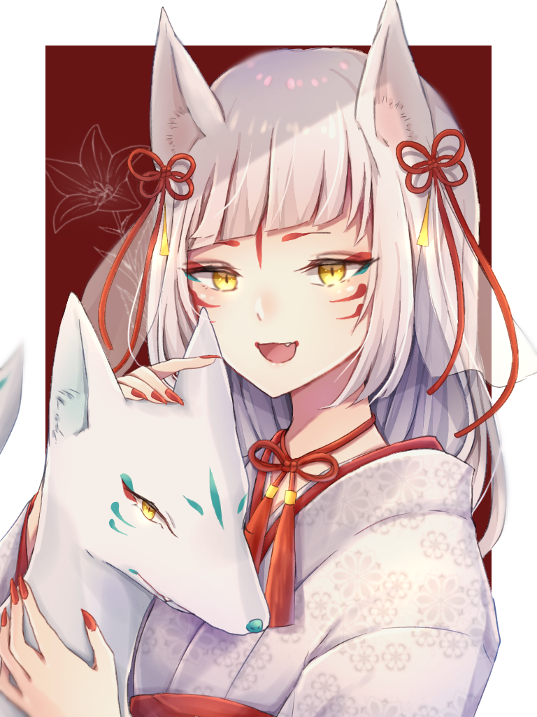稲荷狐の女の子 Illust of ペニーパニー white_hair girl 白狐 original 稲荷狐