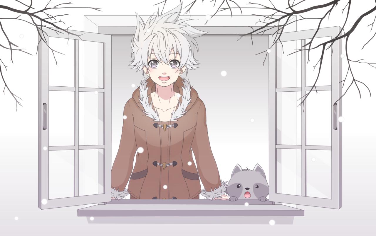 Weather ヾ(●^ 7 ^●)ノ Illust of B e e 48...🐝 Post_Multiple_Images_Contest original redpanda girl oc digital cute birds Raccoon boy manga