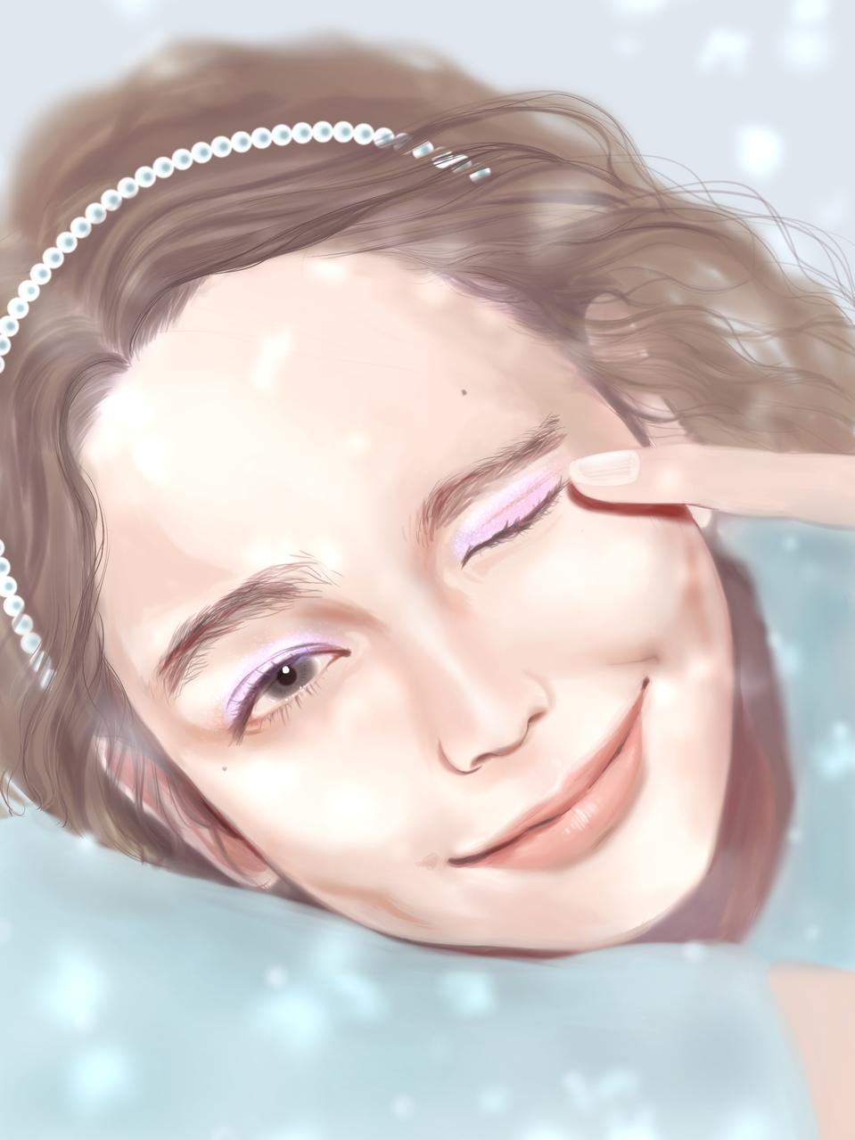 Let it snow Illust of FJ impasto girl レイラニ kawaii fanart snow realistic ThePromisedNeverland