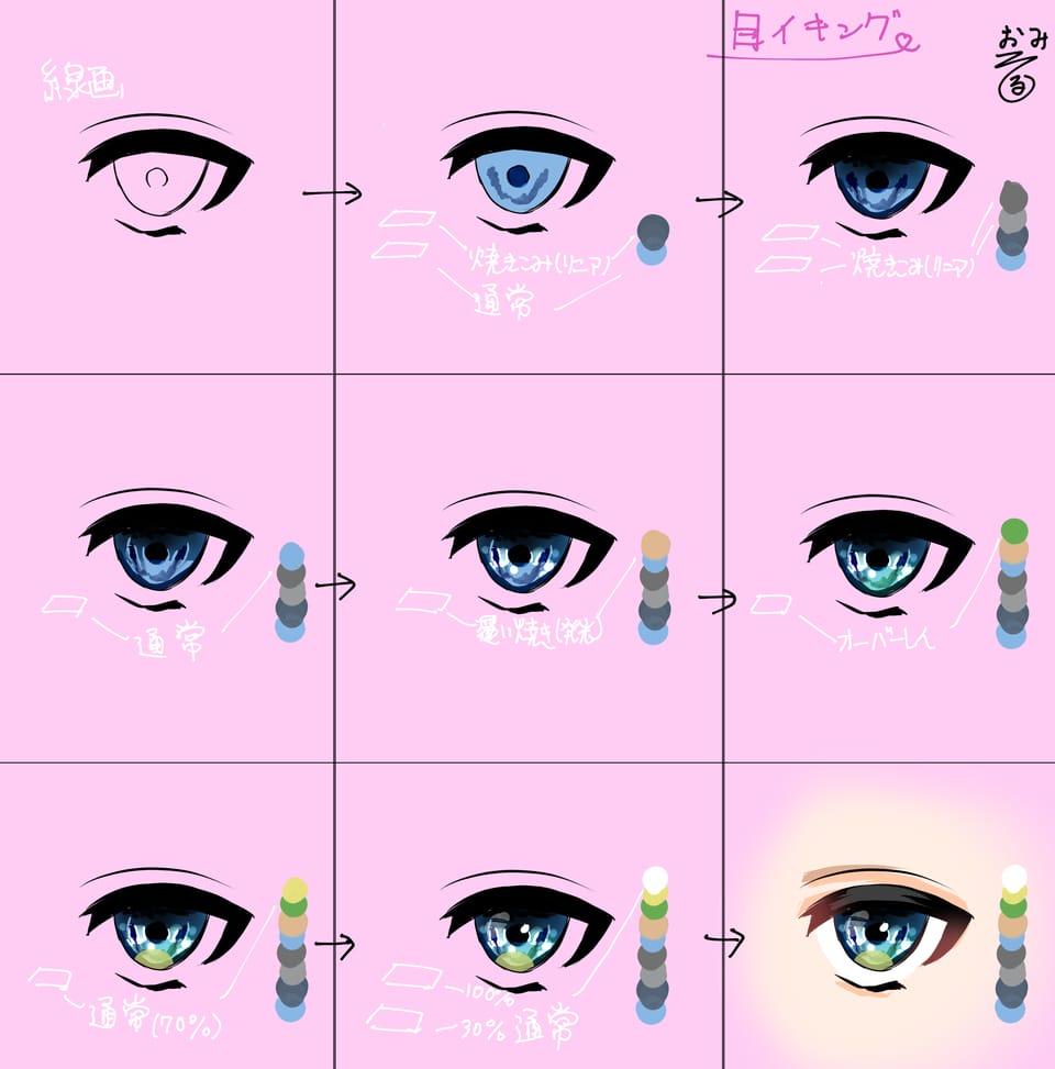 making Illust of おみそ#田舎同盟 The_Challengers 青目 宝石 目イキング tutorial illustration CLIPSTUDIOPAINT eyes メイキング
