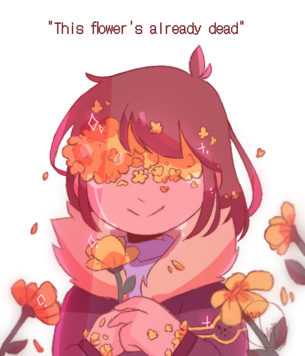 :'D Illust of MochiiNiko aesthetic flower Flowerfell Frisk