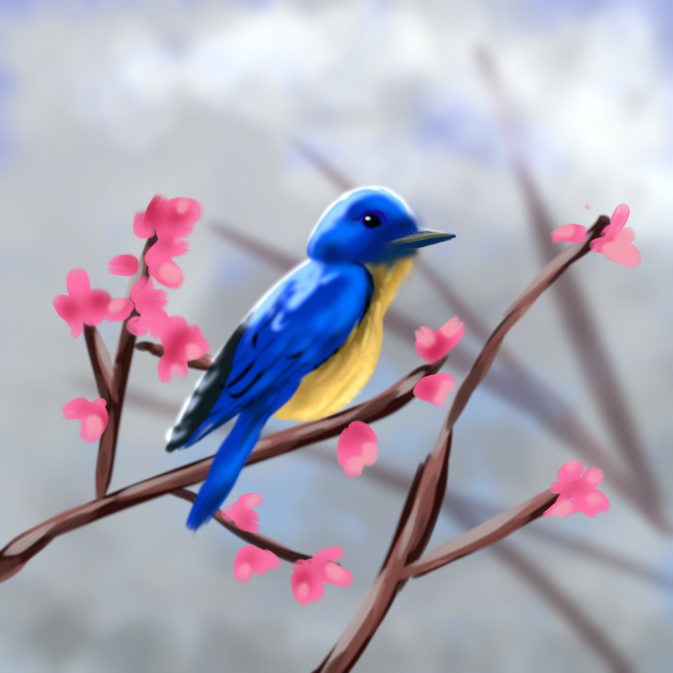 Birdie  (1hr challenge) Illust of Doro Hanshuu illustration painting 1hr cute birds 1hDrawingChallenge love