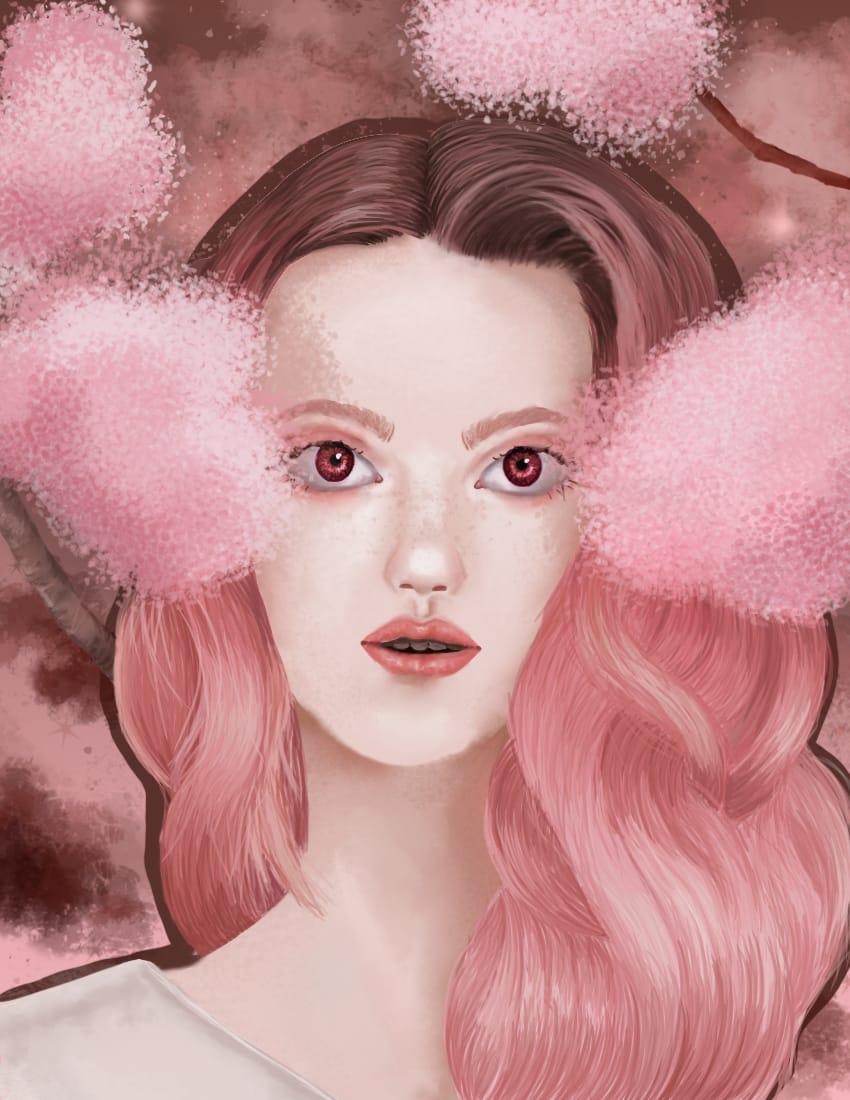 Pink Illust of OneLunarKitty May2021_Monochrome semirealism girl pink