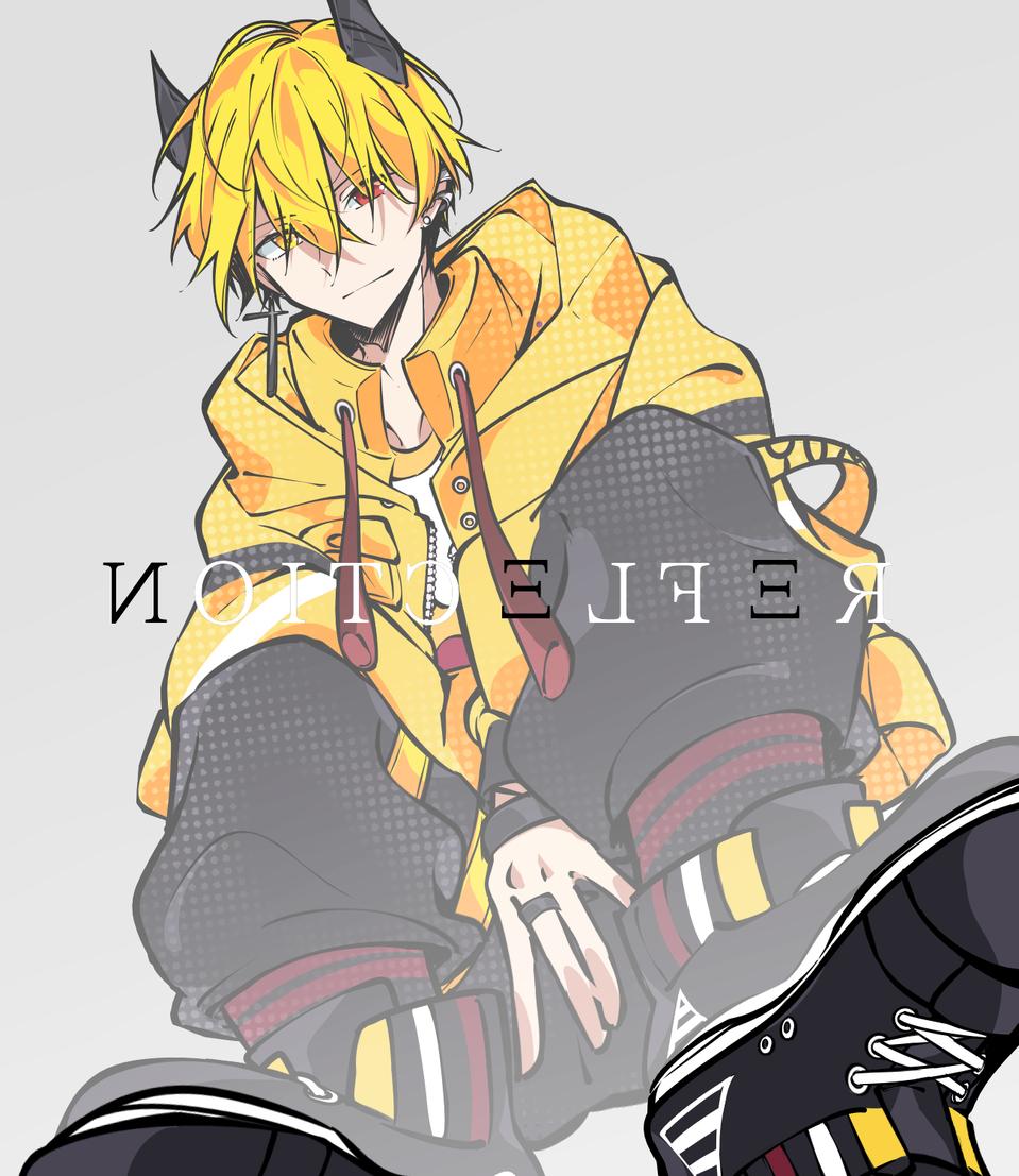 RΞFLΞCTION Illust of かみな medibangpaint オッドアイ piercing yellow horn original 倒影 kawaii boy