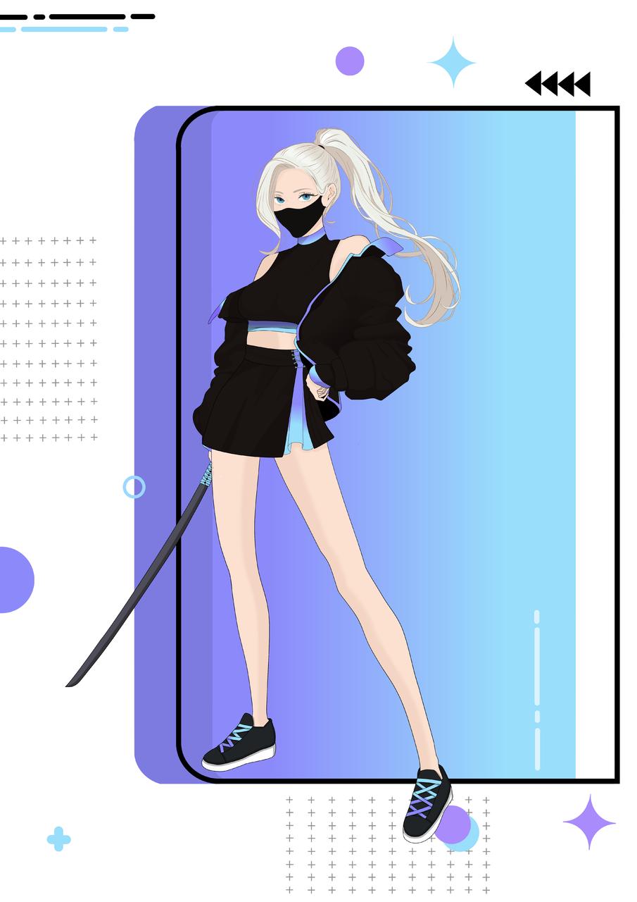 Samurai Girl Illust of riwana_lau November2020_Contest:Cyberpunk gambar anime warna gadis animasi samurai ilustrasi