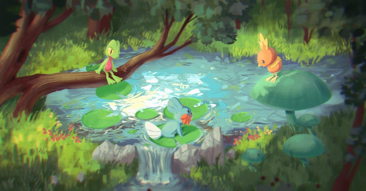 Pokemon chill Illust of Konart illustration painting Pokemonstarters pokemon anime fanart pokemonart digital