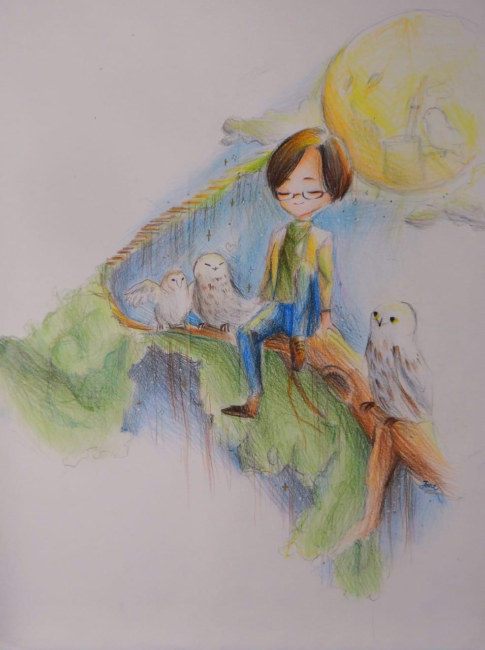 月見貓頭鷹 Illust of janejane 夜色 moon 月色 貓頭鷹