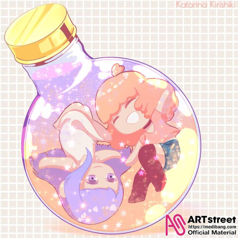 Glitter Bottle Illust of Katarina Kirishiki tracedrawing Trace&Draw【Official】