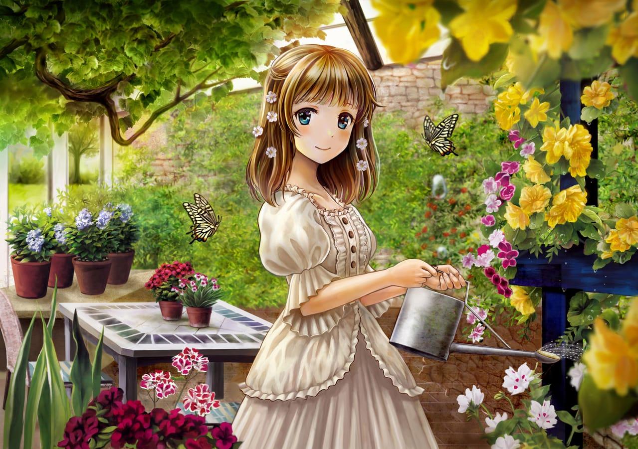 My Garden Illust of chocolat。 April2021_Flower flower girl beautiful 庭