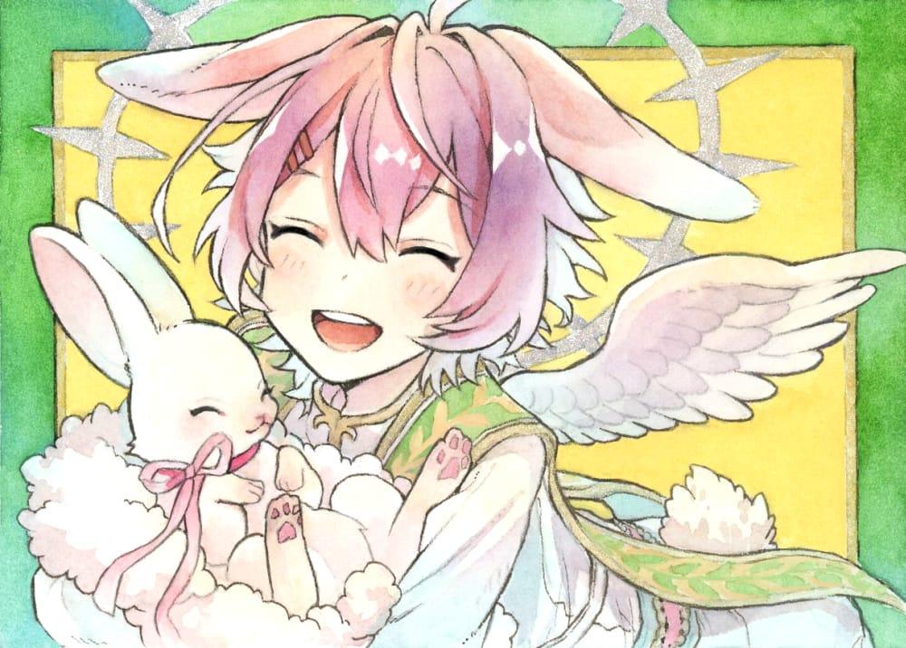 🐰🌸 Illust of とんとろ🐱tontoro pinkhair watercolor angel smile original rabbit boy