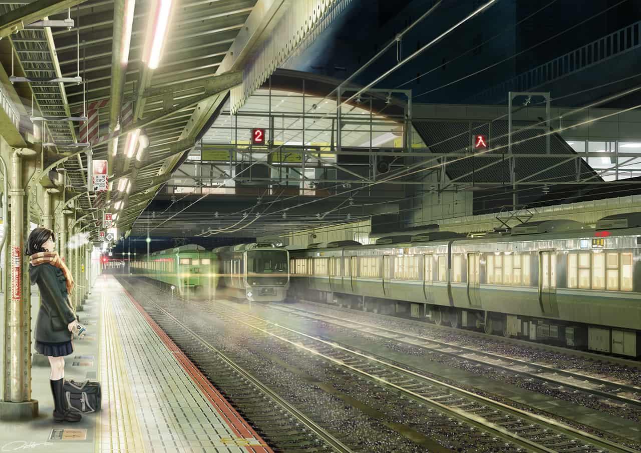 駅 Illust of ふじいえだいご scenery background 駅