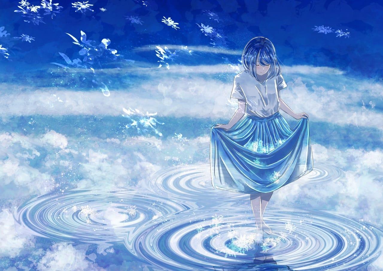 空を渡る Illust of 熊谷のの original girl 雲の上 water background blue scenery sad