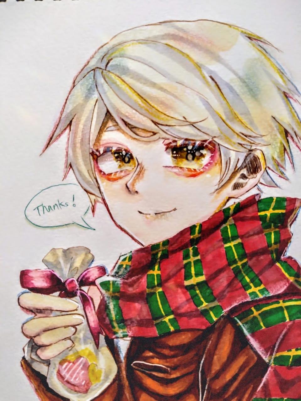 バレンタイン Illust of フラミパン boy アナログ white_hair おとこのこ yellow マフラー 中学生の本気 Valentine oc