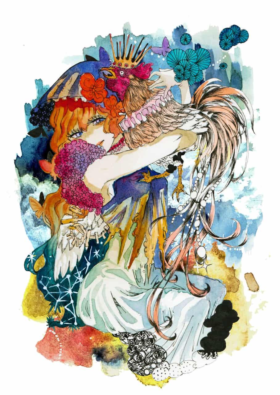 朝と夜 Illust of EIKA illustration animal 鶏 watercolor