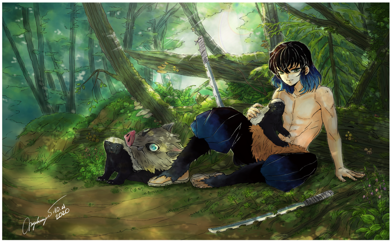 Inosuke and honey badgers Illust of MyuHoang DemonSlayerFanartContest KimetsunoYaiba