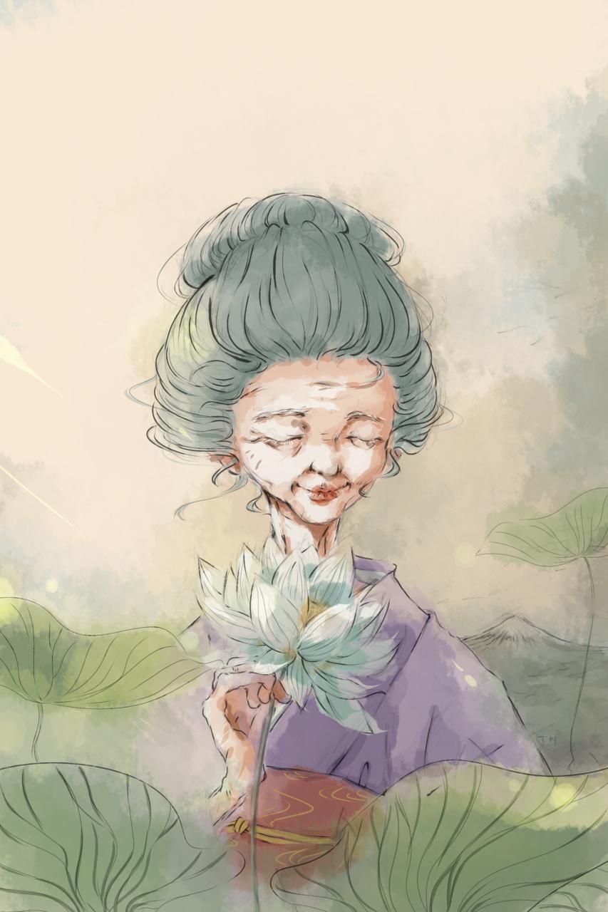 Gentle Melody Illust of Thao Nguyen - Violet Kyoto_Award2020_illustration January2021_Contest:OC April2021_Flower art illustration flower old digital woman lotus lady oc