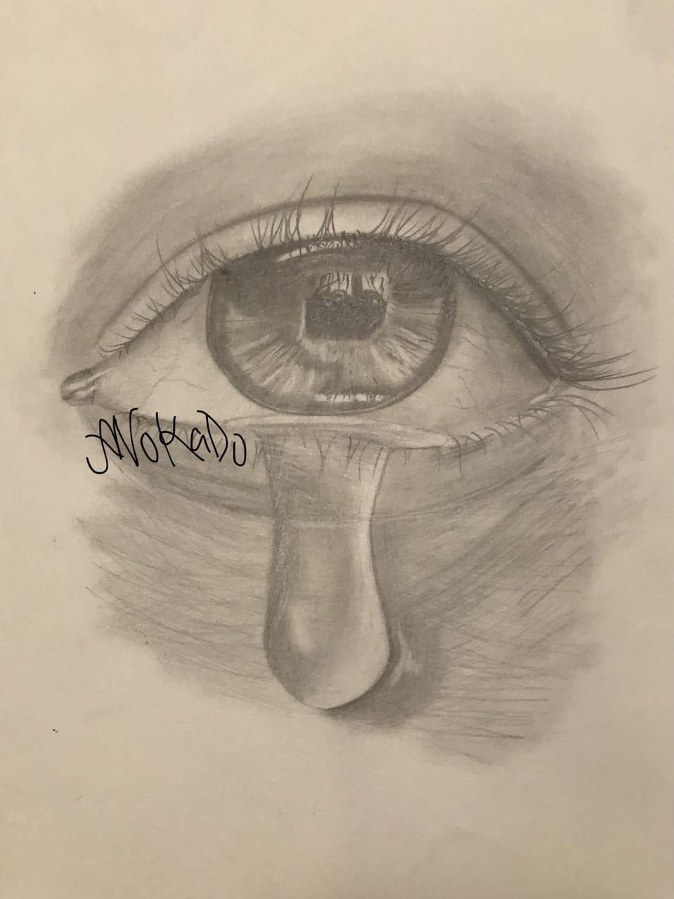 Teary- eyed  Illust of AvoKado traditional traditionalart tears blackandwhite realistic realism eyes