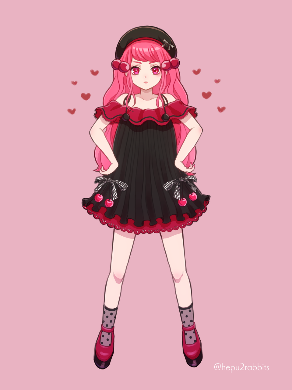 🍒ブラックチェリーちゃん🍒 Illust of へぷうさ June2021_Anthropomorphism oc girl さくらんぼ original
