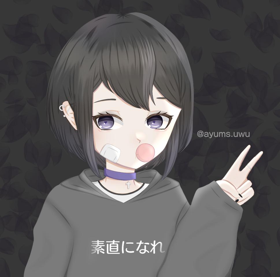.紫の. Illust of nun || ayums.uwu medibangpaint dark illustration animeart bubblegum anime MyArt animegirl black