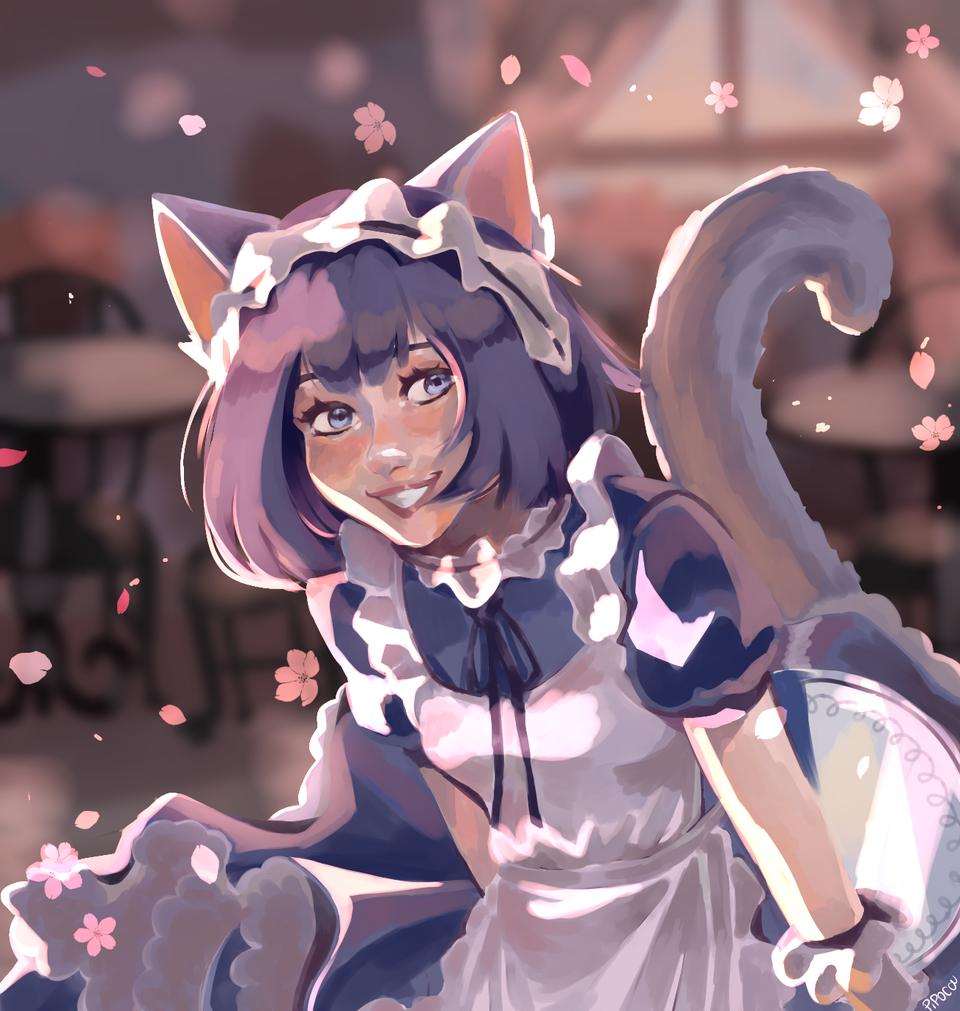 acabei🌸, a assinatura está à direita abaixo Illust of 🍓Nousagi🍓 medibangpaint art maid cutegirl oc anime girl coffee kawaii