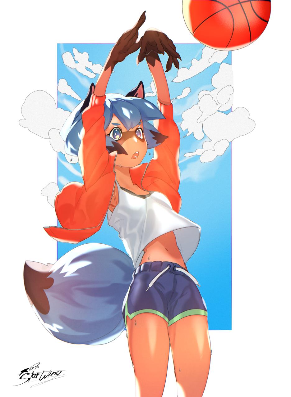 basketball 🏀  Illust of StarWings sketch girl michiru art fanart BNA:BrandNewAnimal anime