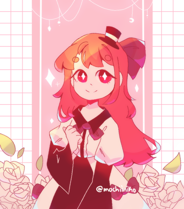 request from pErSon Illust of MochiiNiko medibangpaint cute girl aesthetic oc rose request red