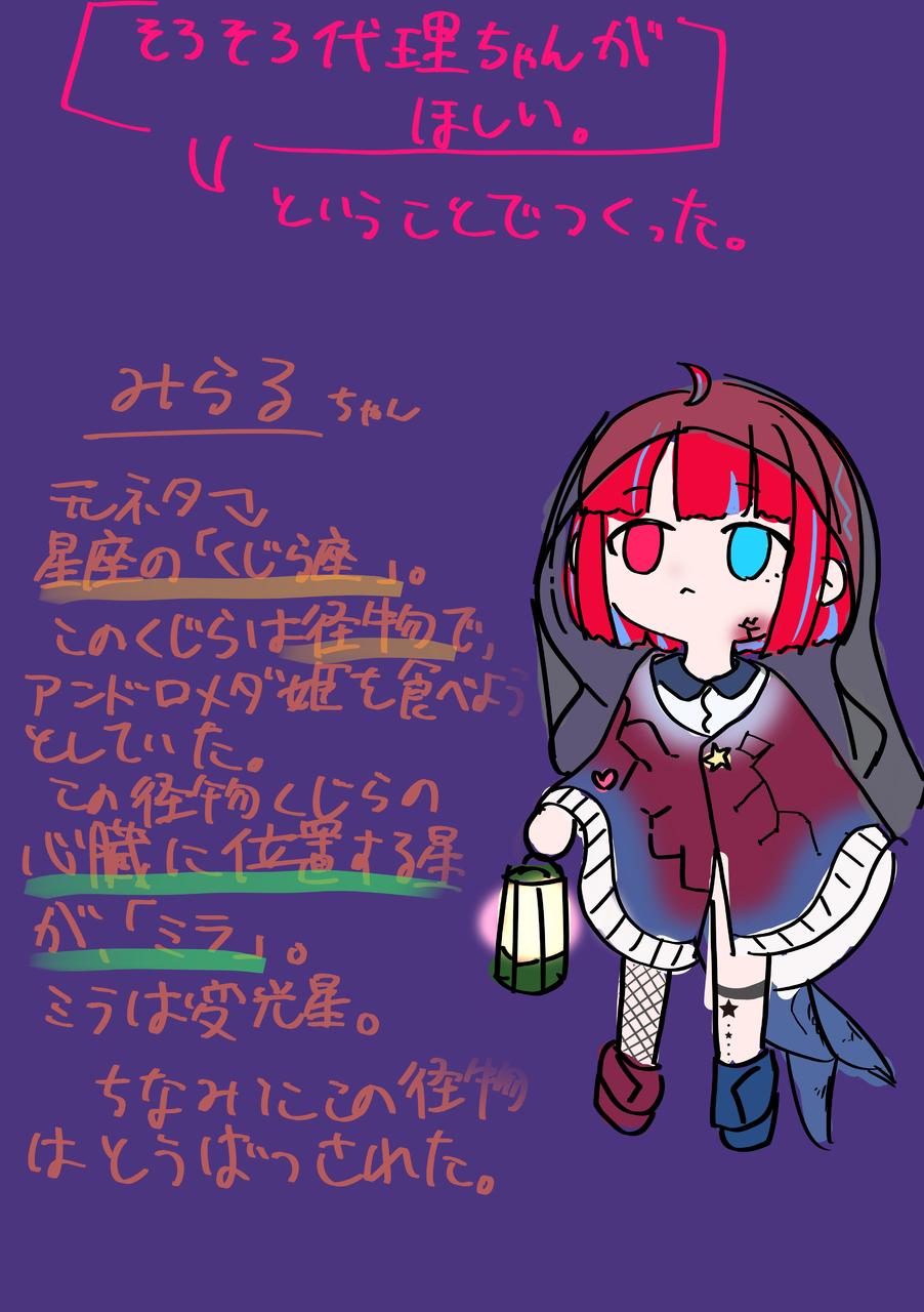 代理ちゃん!!! Illust of 冬路くじら illustration 代理 girl red chibi doodle blue kawaii medibangpaint original