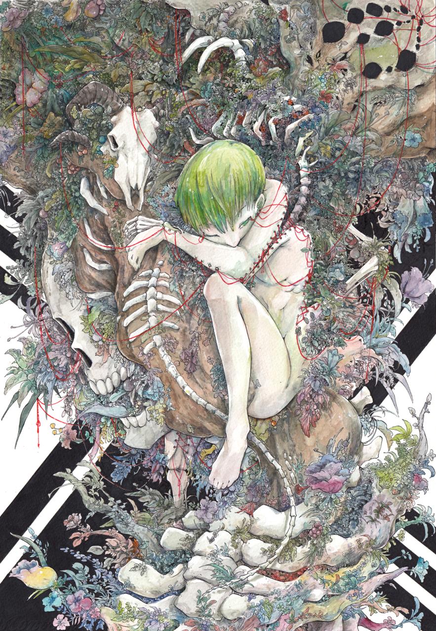 血.花.骨 Illust of 銀甫 MCPOAwardIllustrationSection 植物 watercolor illustration 骨頭