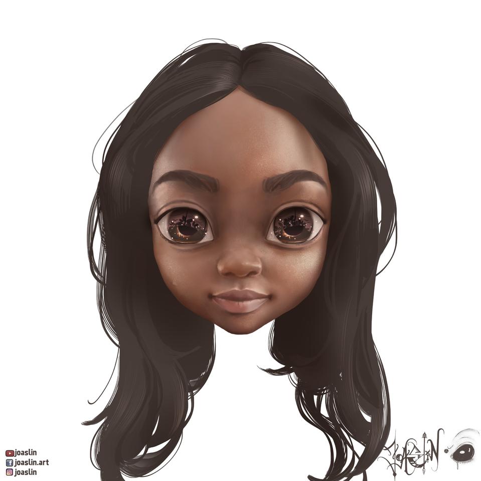 Semi realistic Illust of JoAsLiN art hair girl semirealism oc cute illustration eyes realistic digital