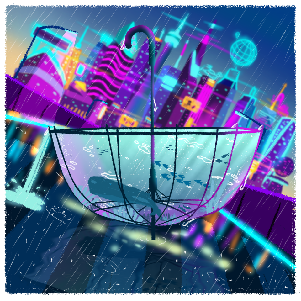 Lofi Cyberpunk Illust of Just_j1n whale cyberpunk scenery cityscape umbrella