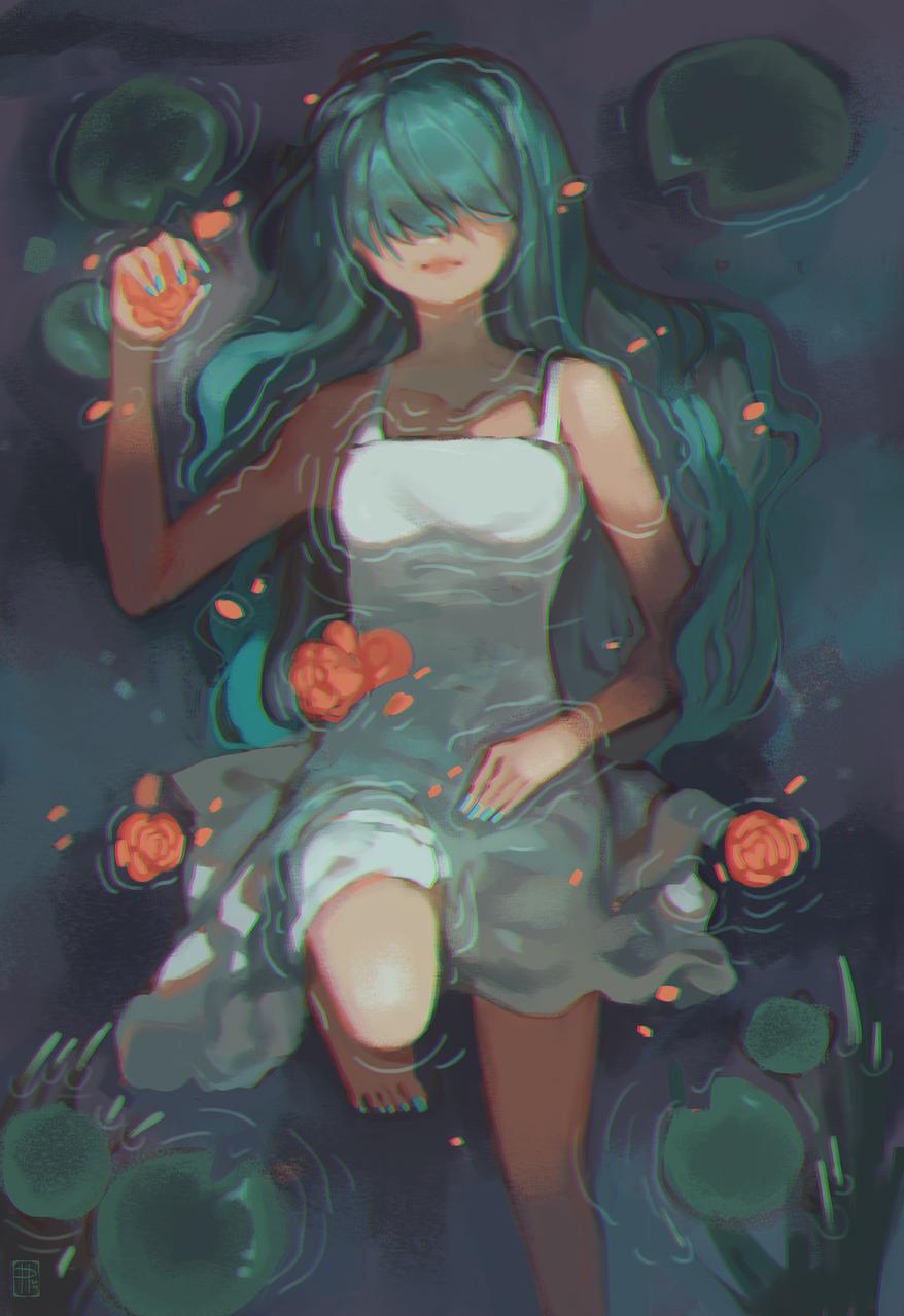 s u b m e r g e d Illust of poki.han anime painting submerged pond flowers doodle pokihan water