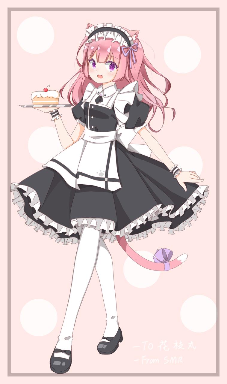 还是给姐妹的哦豁(´-ω-`)不会整背景的俺是屑 Illust of 莫丸——!XD medibangpaint pink maid original cat_ears