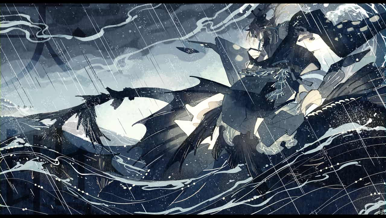 boundary Illust of 鴉羽 凛燈 rain Japanese_style merman mermaid original sea