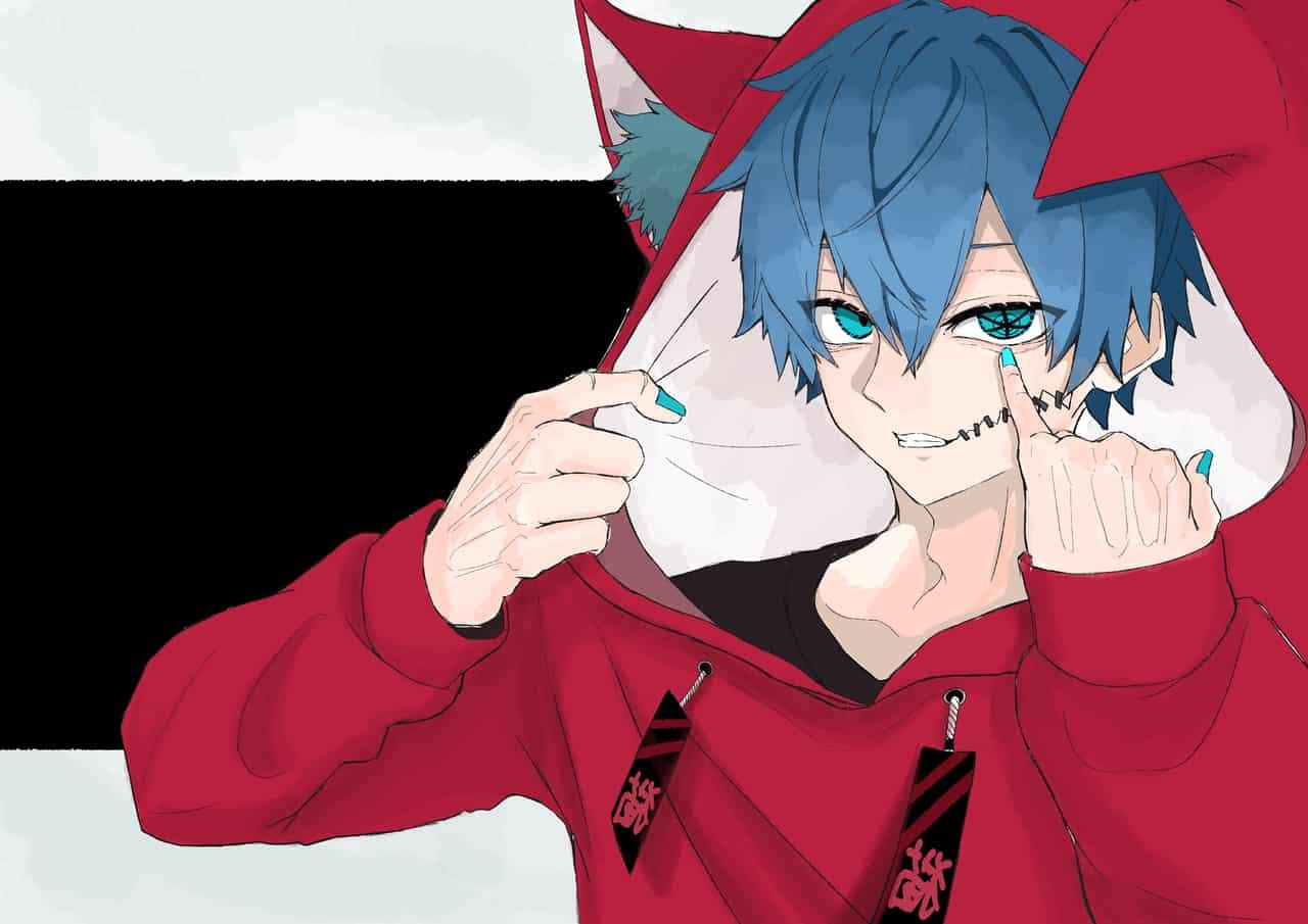 hypocrite Illust of をとり illustration cat red boy hoodie blue black oc medibangpaint