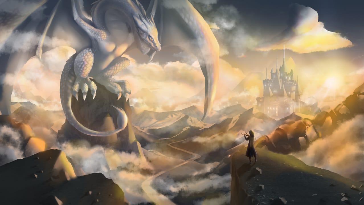 Canción con el dragón  Illust of Kuriri Mikiu fantasy February2021_Fantasy dragon girl song magic chica castle
