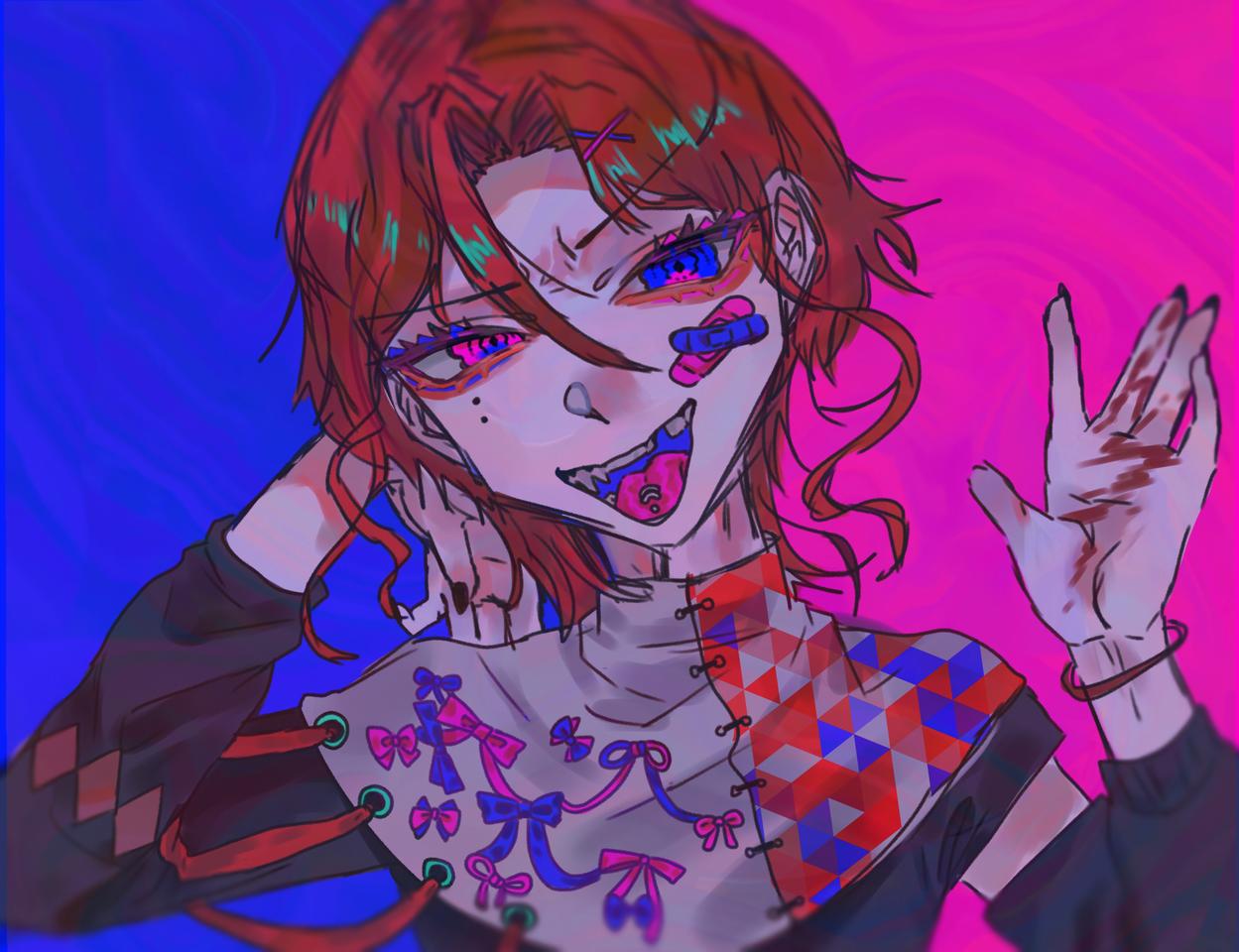 The hates me?? Illust of OHTEAOH🔫 boy blue 図工の時やったマーブリング素材にした red pink くろうめさん大好き 赤と青