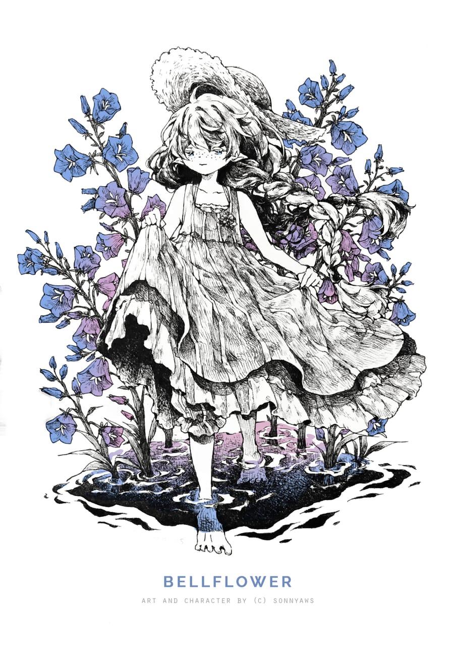Bellflower Illust of sonnya_ws May2021_Monochrome flowers oc Bell ink bellflower