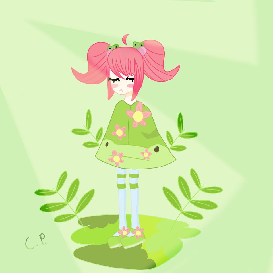 Froggy⁉️ Illust of 🐳 Atomiic_Oceans 🐳 cute Frog animal anthro green medibangpaint pink Plants flower digital