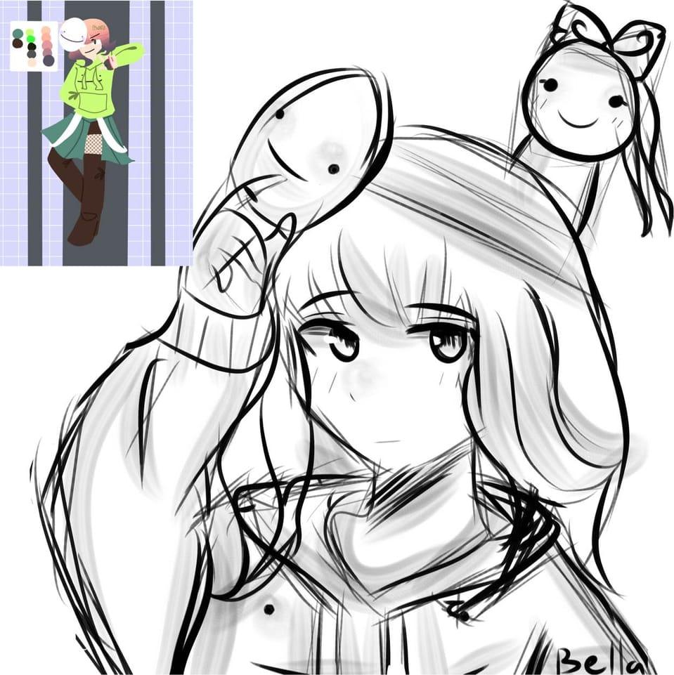 Kuri's Contest Doodle WIP Illust of ꜱᴀᴘᴘʏʙᴇʟʟᴀ • ꜱᴀᴘɴᴀᴘ ᴍᴏᴅᴇ©️ black doodle WIP contest white DreamiiKuri blackandwhite