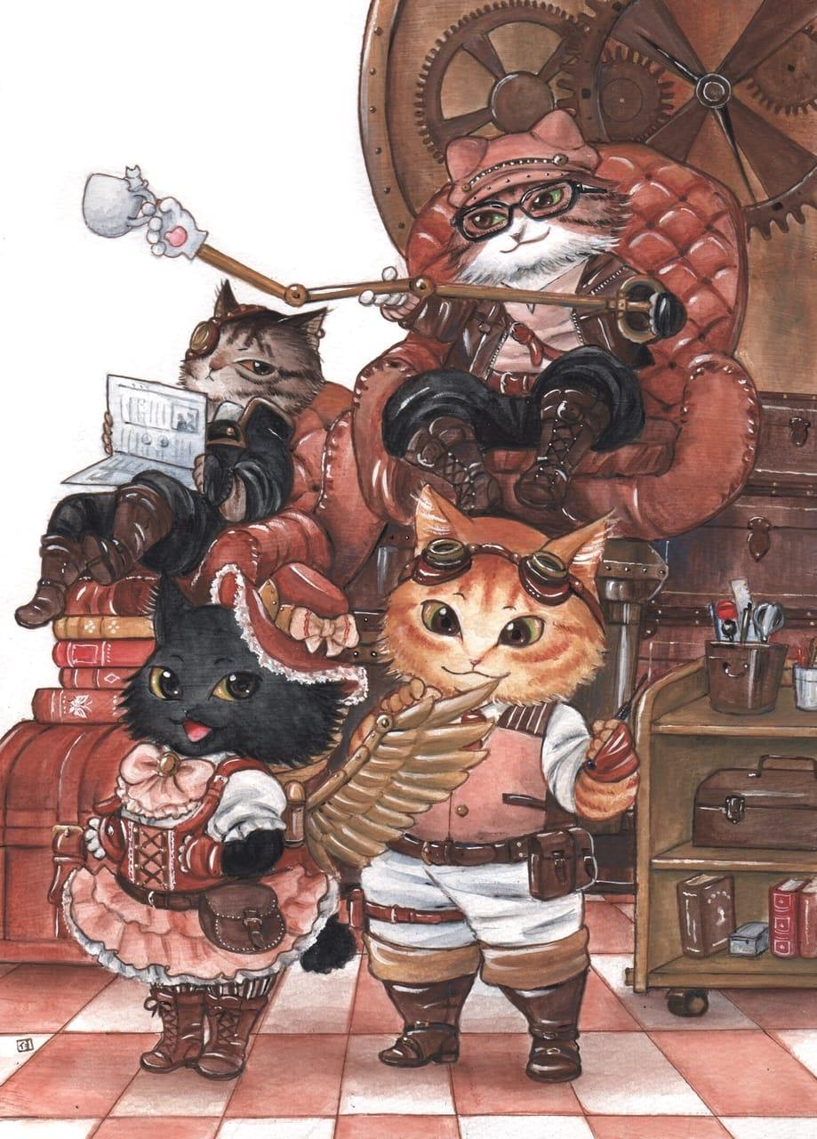 スチームパンク猫の部屋 Illust of 渡辺カヨ February2021_Fantasy アナログ coloredpencil steampunk cat アクリルガッシュ