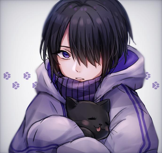 メカクレ君と黒猫 Illust of ペニーパニー original cat purple boy 黒髪 oc